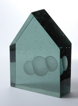 Carol Lawton.  CO2, 2008. Cast, engraved lead glass. 8 x 6 x 2.5 in.