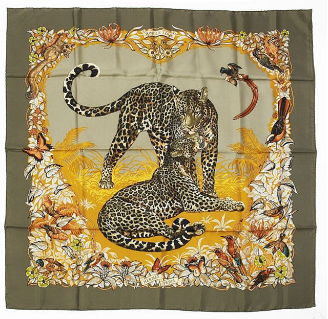 """""""Jungle Love"""" silk-twill Hermès scarf designed by Robert Dallet, 2000 (reissued in 2007),  Artcurial  (May 2013)"""