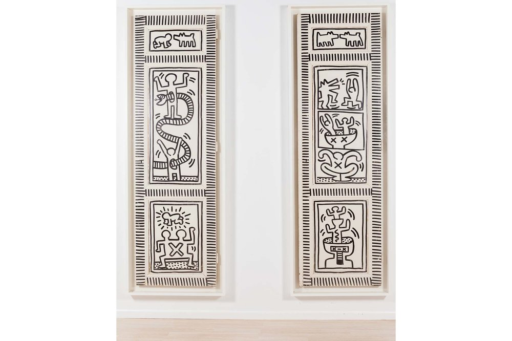 Keith Haring's Snake and Man; Dogs and Men, executed in 1983. Source: Phillips