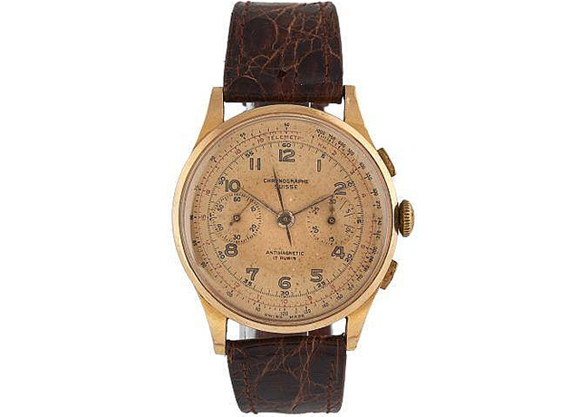 Lot 227, Swiss chronograph wristwatch, 1950, 18k rose gold, Artcurial (November 8)
