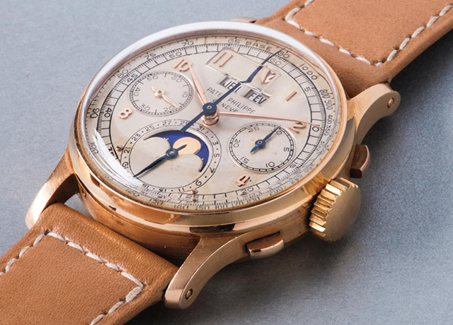 Lot 196 , Patek Philippe pink gold perpetual calendar chronograph wristwatch with moon phases and tachymeter scale, 1948,  Phillips  (November 13)