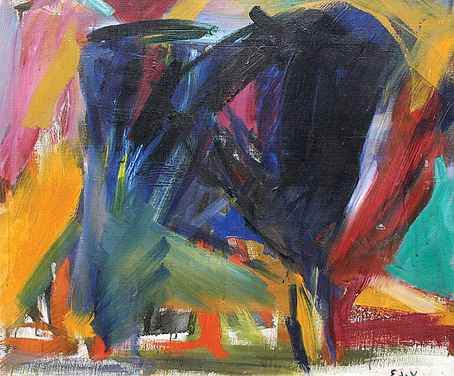""" Quedado "" by Elaine de Kooning, oil on canvas,  Clars Auction Gallery  (May 2014)"