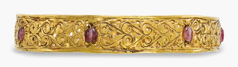 A Byzantine open-work gold bracelet . Circa 4th-5th century A.D. 3 in (7.5 cm) wide. Estimate: $8,000-12,000. This lot is offered in  Ancient Jewelry: Wearable Art , 29 November–8 December 2016, Online