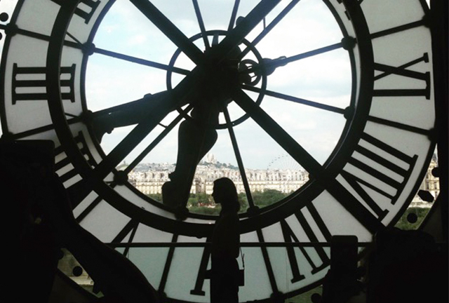The grand old station clock inside the Musée d'Orsay.