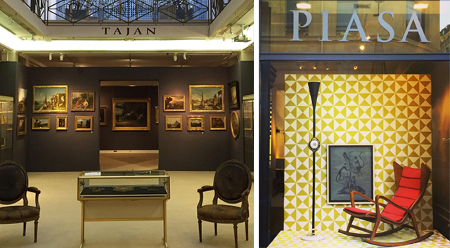 Left :  Inside Paris auction house, Tajan . Photo courtesy of Tajan via  Instagram ;  Right :  Italian design  on display at Piasa. Photo courtesy of Piasa via  Instagram .