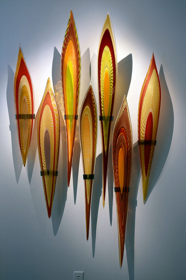 Masai  (7 piece); 80 x 46.5 x 14 inches; blown glass