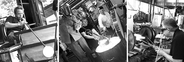 Left: Glass blower; Center: Glass casting, photos courtesy of Corning Museum of Glass; Right: Jay Musler lamp working glass at his studio in 2012, photo by Micaëla van Zwoll.