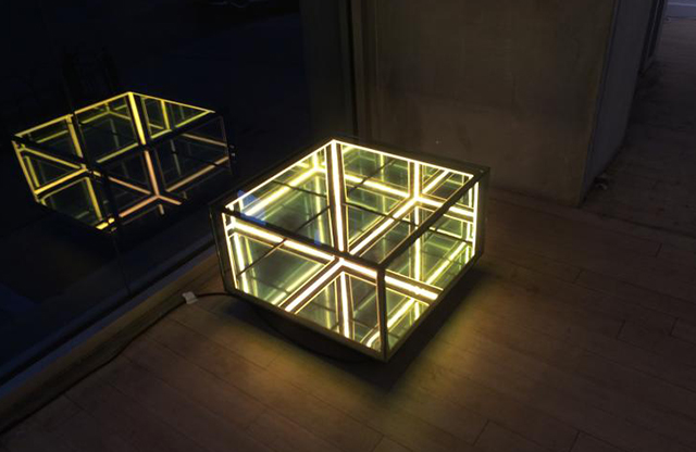 """Membrane Half Cube"" by Christophe Katzler (b. 1968), spy mirror sculpture / coffee table infinity perspective, Muriel Guepin Gallery"