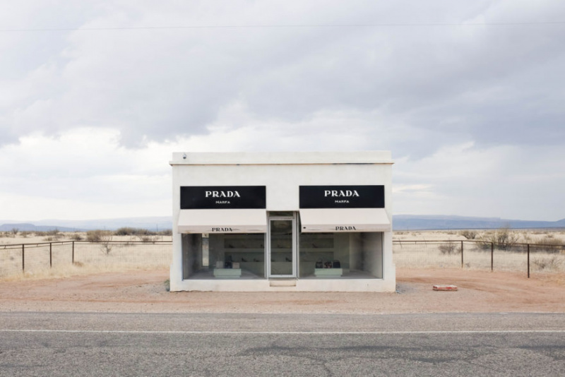 Elmgreen & Dragset. Prada Marfa, 2005 at U.S. Highway 90.