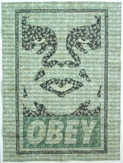 Slave to the Dollar, 2014  ( After Shepard Fairey's OBEY, 2003 )   Counterfeit  Series. Sewn US currency, 40 x 30 in. Framed, white wood, plexiglas.   Acquire