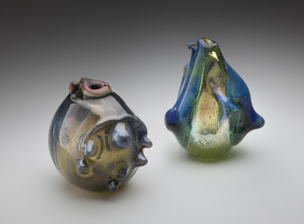 Marvin Lipofsky (American, 1938-2015). Glass Forms #56  1968, blown glass created in Berkeley. Courtesy of the artist. L2014.2301.005.01-.02