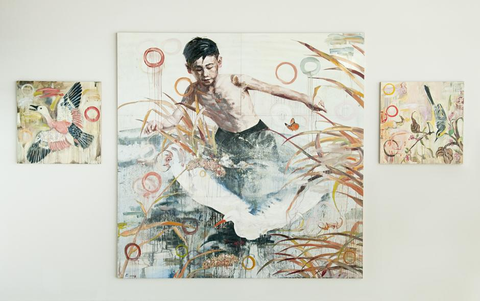 Hung Liu (Chinese, b.1948). Take Off, 2006 2006. Permanent ink and oil paint on wood, 204 in. x 336 in. SFAC 111