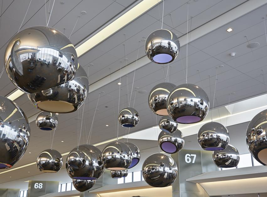 Merge Conceptual Design. Sky, 2014 (a collaborative installation by Franka Diehnelt and Claudia Reisenberger). Stainless steel, LED lighting, paint. Approximately 35 x 40 ft., (dimensions variable) consisting of 27 spheres, various diameters, 4 ft. 11 in., 3 ft. 3 in. and 2 ft. SFAC 119