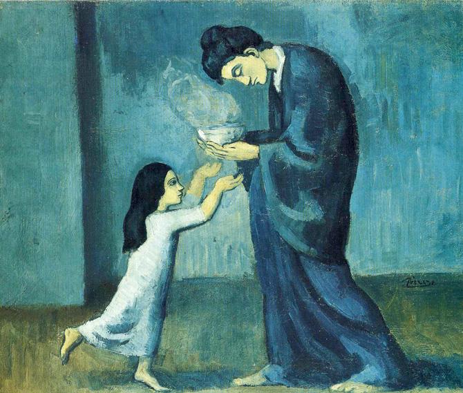 Pablo Picasso, 1902-03,  La Soupe . Image via  Wikimedia Commons .