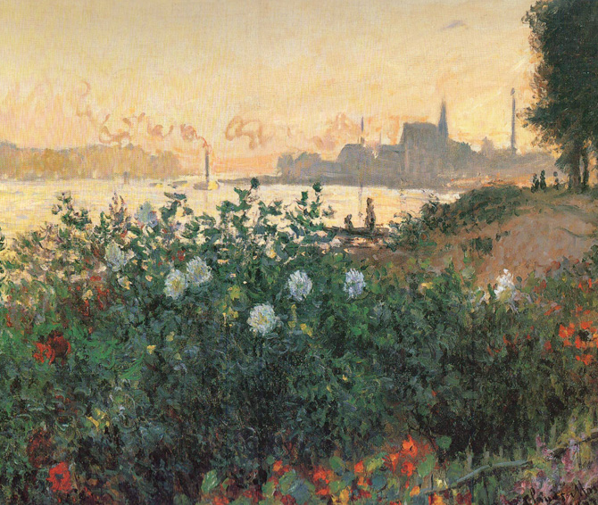 Claude Monet,  Flowered Riverbank, Argenteuil, 1877 . Image via  Wikimedia Commons .