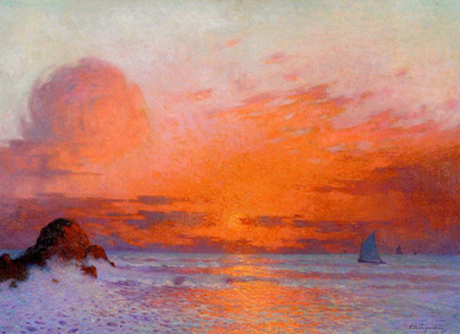 Ferdinand du Puigaudeau, Sailboats at Sunset, 1864-1930. Image via  Wikimedia Commons .
