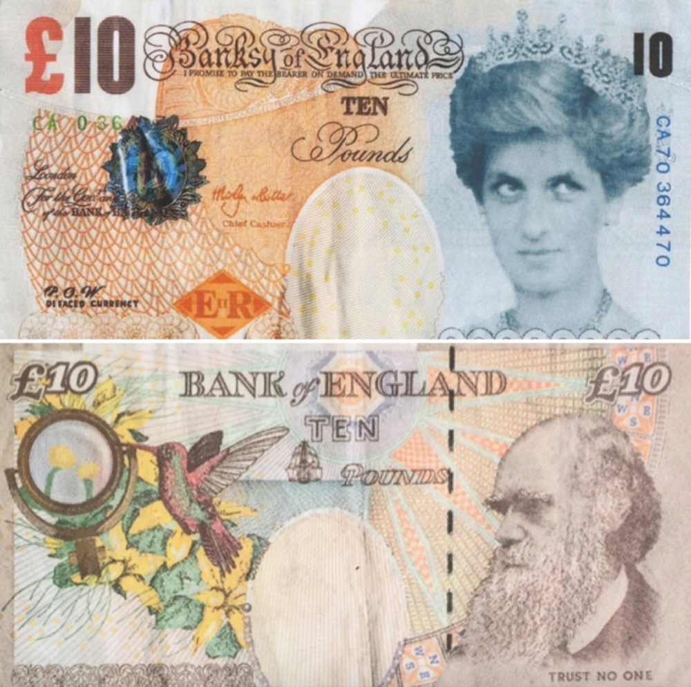 Banksy,  Di-faced Tenner  (2004). Courtesy of Pest Control Office, ©Banksy.