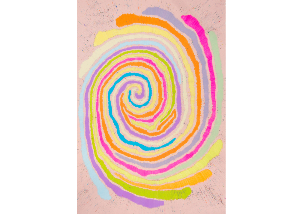 Untitled (Fruit Loop Time Loop), 2015, color pencil on paper, 73 x 51 in.