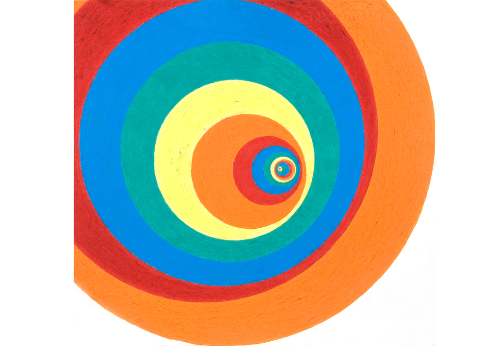 untitled (vortex), 2008, color pencil on paper, 16 x 14 in.