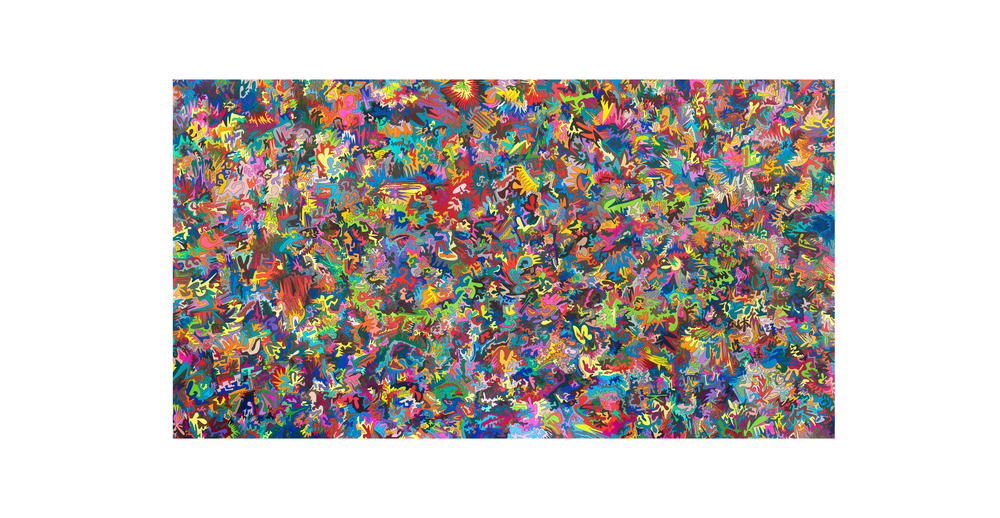 Electric Universe, 2014, color pencil on paper, 86 x 153 in. (triptych)