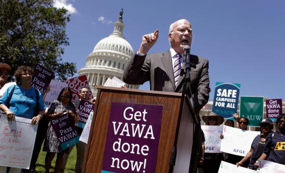 Senate Judiciary Committee Chairman Patrick Leahy (D-VT) at a rally in support of the Violence Against Women Act. Photo by Chip Somodevilla/Getty Images