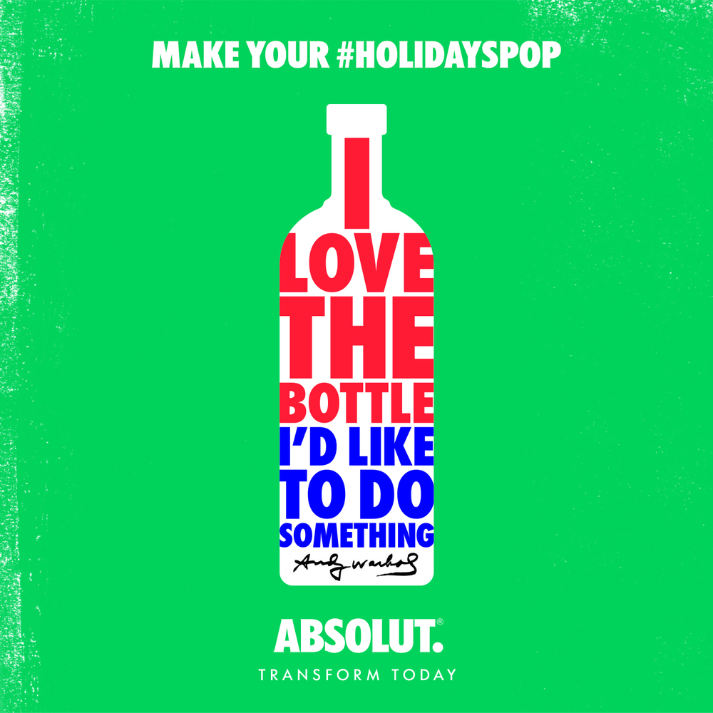 The best party favor never lasts til last call. Pop in with the Absolut Warhol bottle and leave with more friends than you came with. #holidayspop