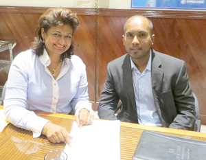 Anthony Autar (right) is seen here with the Founder of the GF, Mrs. Supriya Singh-Bodden