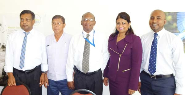 (Left to right) Workshop facilitator, Dr. Latchmin Narain; Guyana Foundation Trustee, Stanley Ming; Guyana Foundation Trustee, Eric Phillips; Guyana Foundation Founder, Supriya Singh-Bodden and Managing Director, Anthony Autar