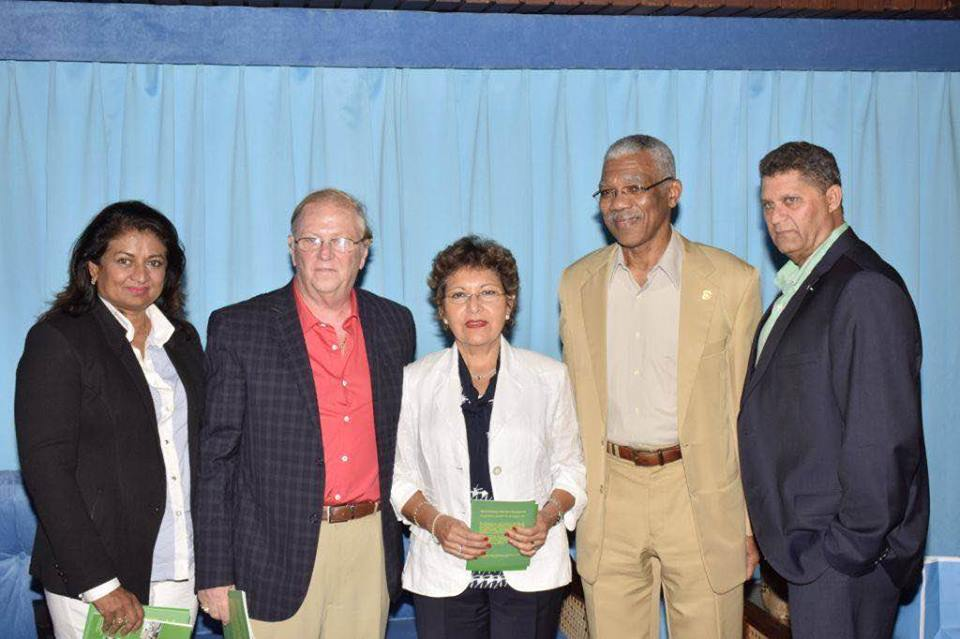 L-R GF Founder Supriya Singh-Bodden, John and Leticia Homlish, H.E. President David Granger and Mr. Robert Bodden.