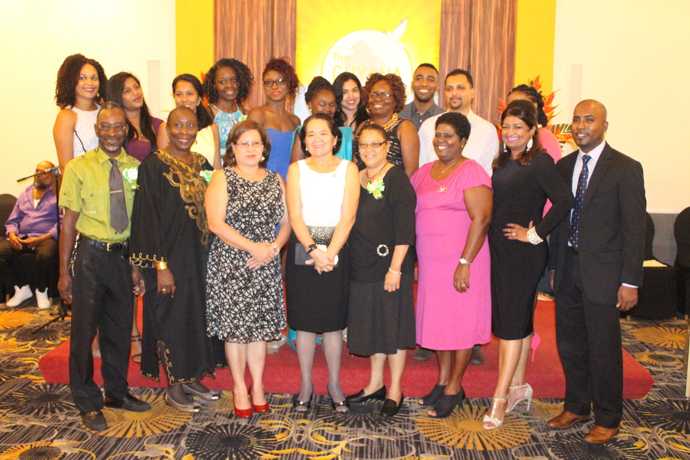 First Lady, Mrs. Sandra Granger, flanked by Mrs. Supriya Singh-Bodden, Founder of the Guyana Foundation, Anthony Autar, Managing Director, volunteers and friends.