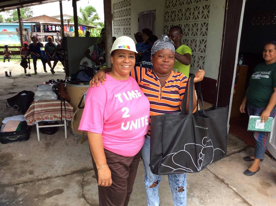 GF volunteer Deborah Blackmore with one of the beneficiaries in Soesdyke.