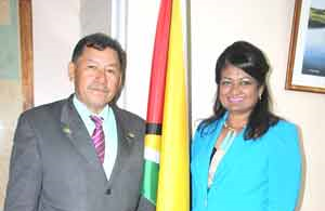 Founder of the Guyana Foundation Supriya Singh-Bodden and Minister of Indigenous Peoples' Affairs Sydney Allicock.