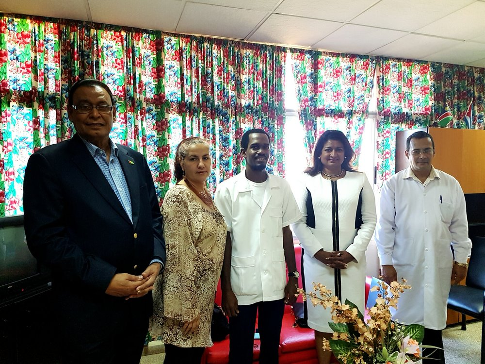 Guyana's Ambassador to Cuba, Mr. Halim Majeed (left)  with Mrs. Supriya Singh-Bodden, CCH (second from right) and other health professionals at the Conference.