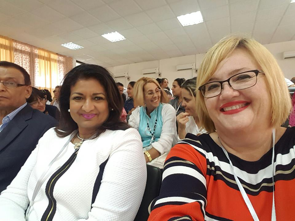 Guyana's Ambassador to Cuba, Mr. Halim Majeed (partly hidden left), Mrs. Singh-Bodden, CCH and Ms. Susan Isaacs, GF Managing Director attending the Conference in Cuba.