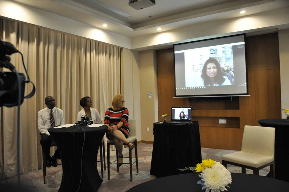 Mrs.  Supriya Singh -Bodden joining the Press Conference via Skype from the Grand Cayman