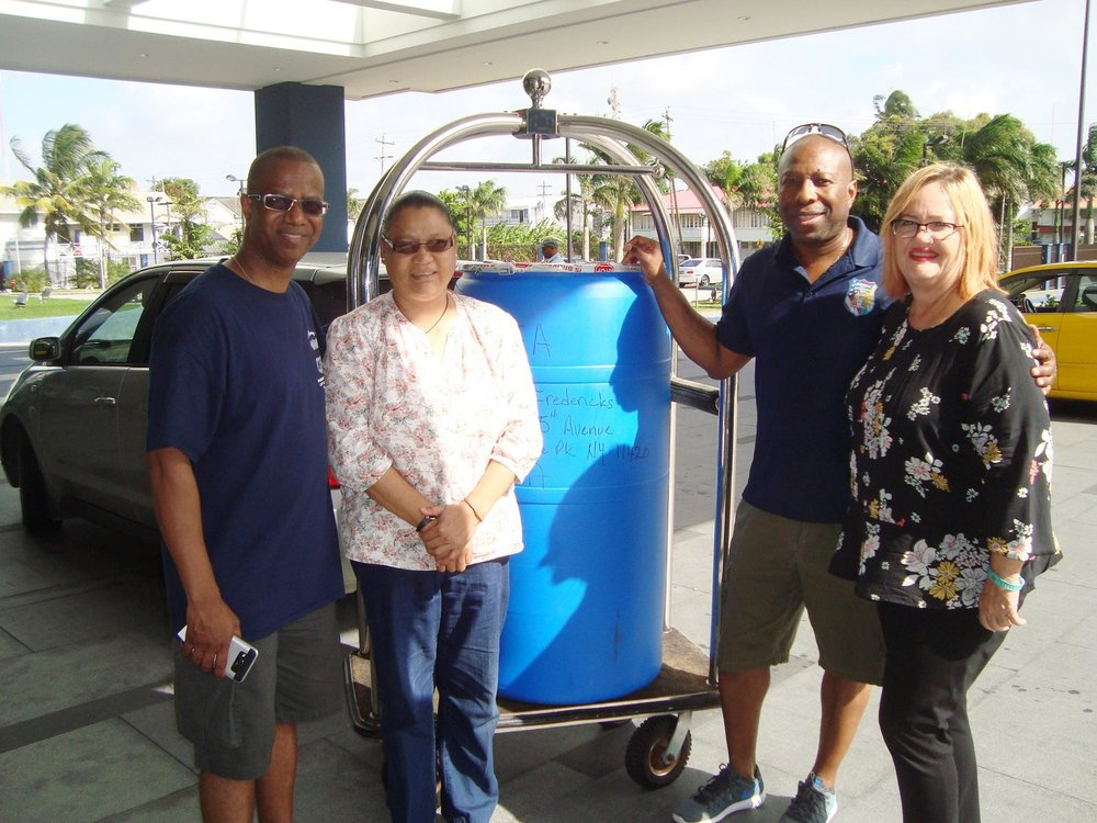 Donation of Barrel with children clothing, shoes and baby bottles, among other items to GF by the Guyanese American Law Enforcement Association (GALEA), an organisation of overseas-based Guyanese in the USA, April 2017.