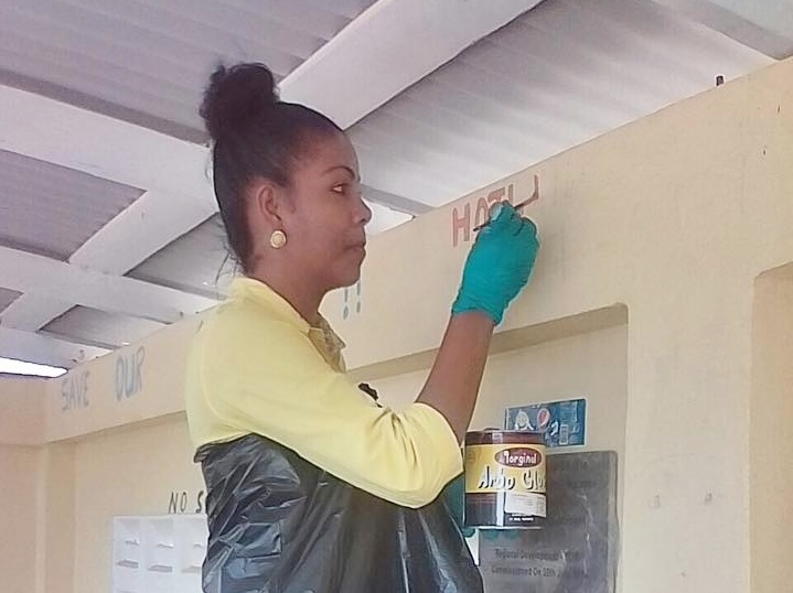 The Sunrise Center staff, on Tuesday 26th September 2017, joined with persons from the Childcare and Protection Agency to paint the walls in this building in an effort to protect children from sexual abuse.