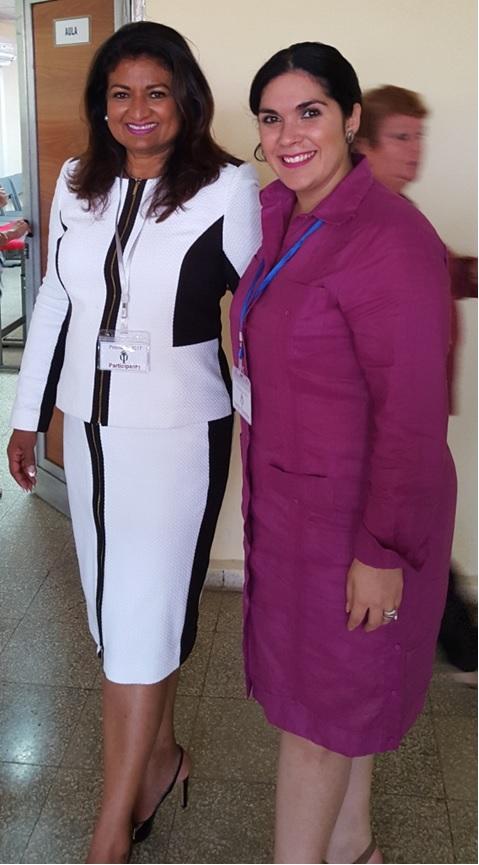 Supriya Singh-Bodden with Nataly Duenas Lopez, Coordinator of Psycoavila 2018
