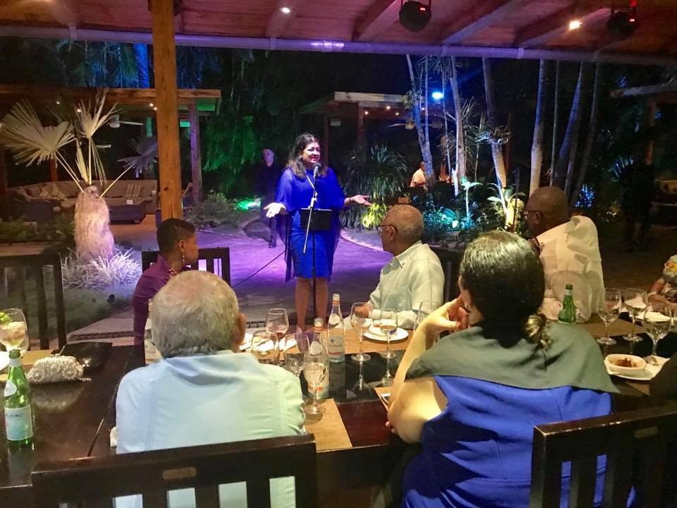 Mrs. Supriya Singh-Bodden addressing a gathering of Ambassadors from numerous Caribbean Countries on Wednesday evening, 15th November 2017 in Havana, Cuba.