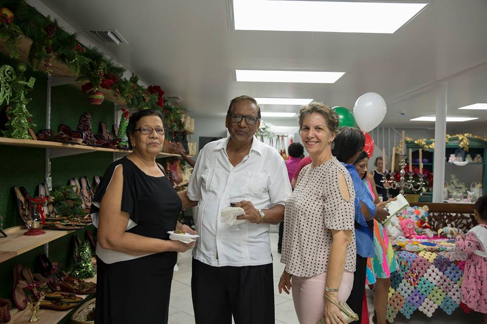Invitees at the opening of the craft store.