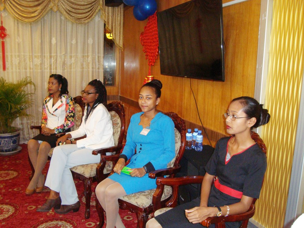 Press Conference/Luncheon:From left are Childcare Manager of the Sunrise Center, Ms. Madonna Paul, Ms. Nateefa John, Ms. Zohise Harris and Ms. Candace Calistro