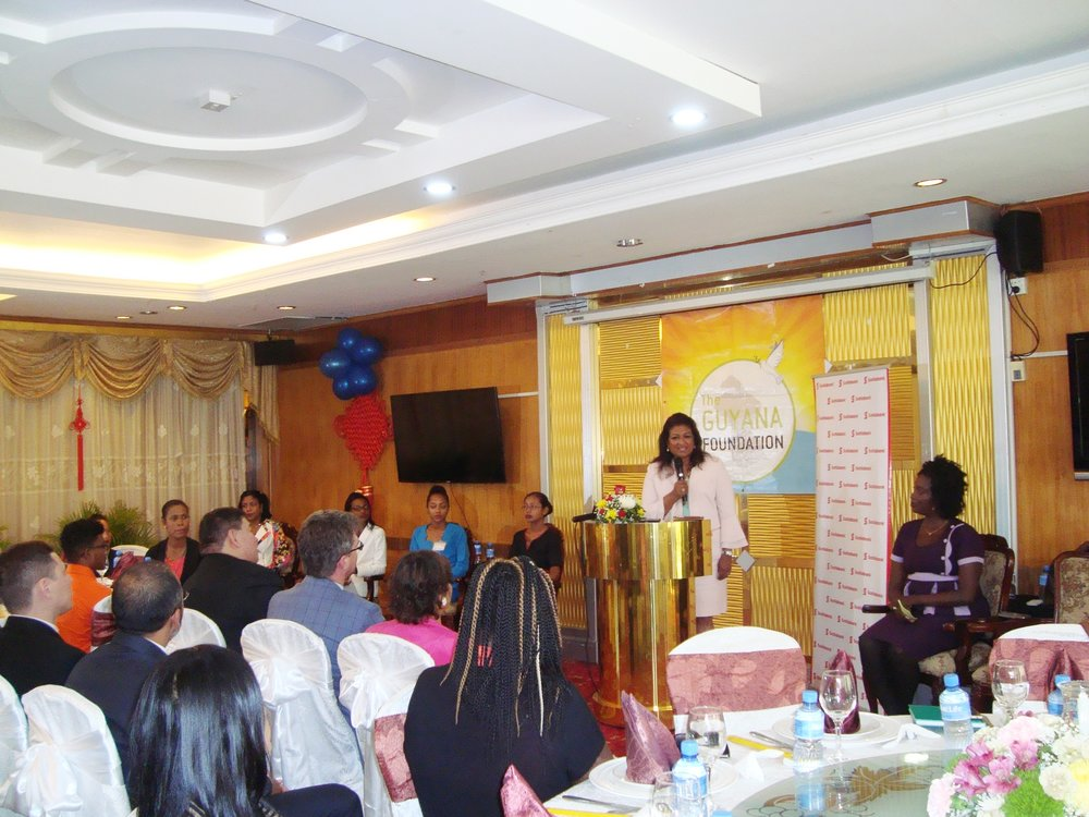 Press Conference/Luncheon: Founder of the Guyana Foundation, Supriya Singh-Bodden delivering her remarks.