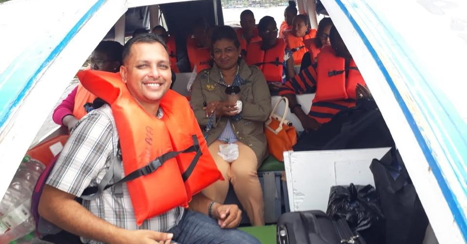 Heading to the island of Wakenaam in the Essequibo River, June 2018