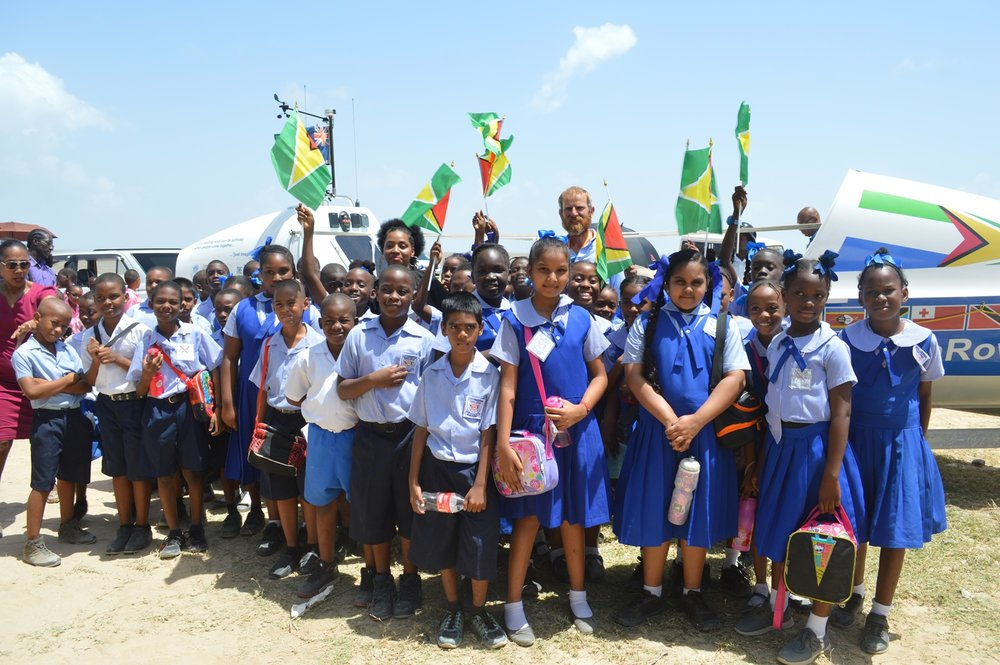At the Marriott Beach with students of the North Georgetown Primary School.