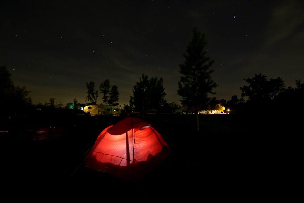 Beautiful night sky and awesome tent from Grandma and Grandpa Micik