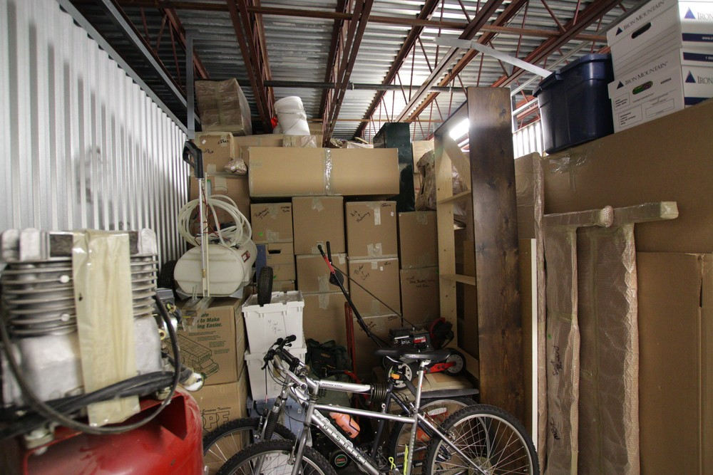 Our storage unit, almost packed to the gills