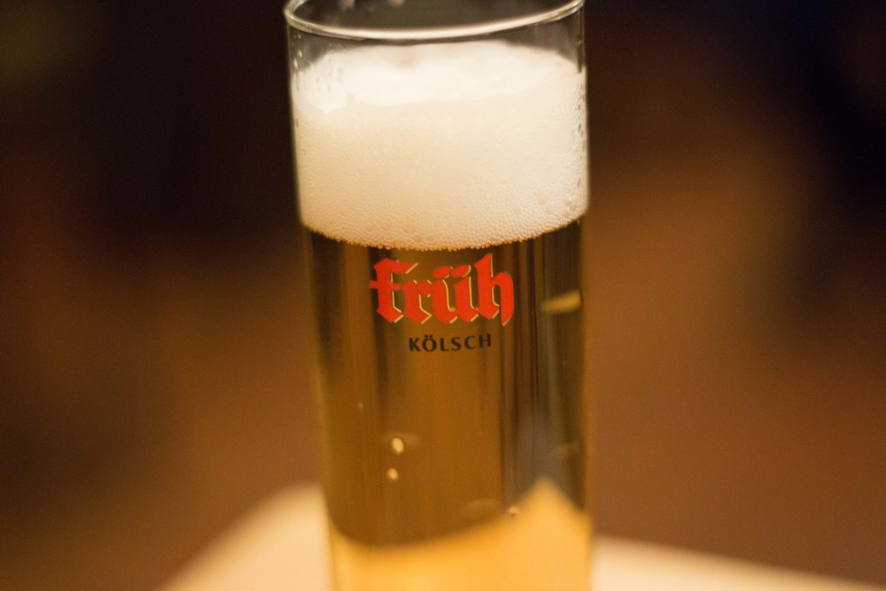 A Kölsch from Früh brewery.  This beer is always, always, served in a tall, cylindrical glass.  Usually in 0.2L increments, but sometimes in 0.4L.