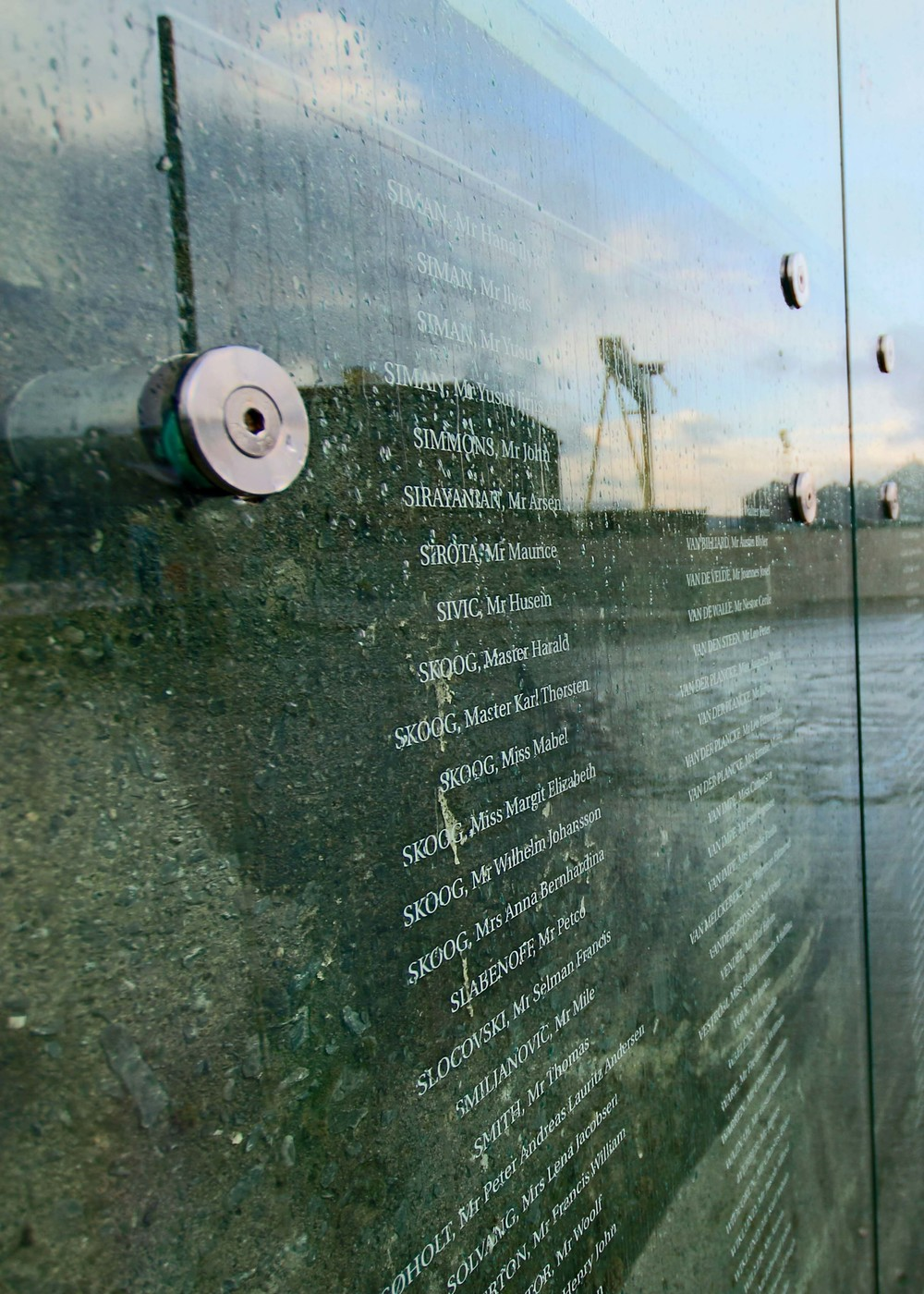Moving monument to all those who lost their lives when the Titanic sank. The name of each victim is etched into the glass and this sits in the slipway where the Titanic, and other Olympic class ships were built and launched from.