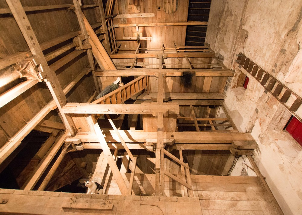 Malt house at the Jameson distillery.  Each floor would have upwards of 2 tons of barley malting on it, which were originally hauled up by hand before a grain elevator was installed
