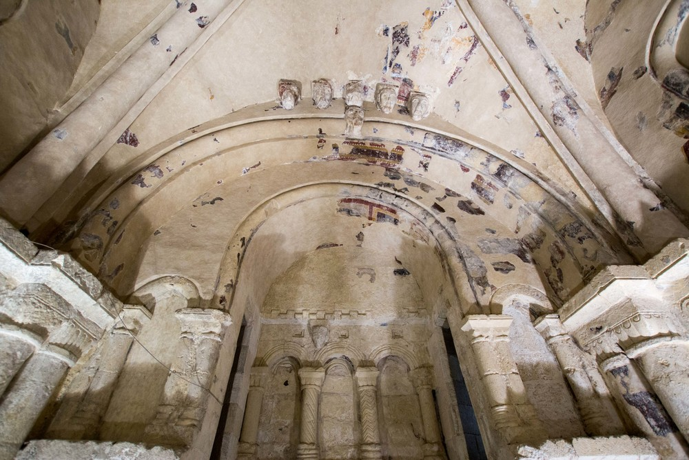 Ceiling of cathedral at Rock of Cashel with paint.  It is in the process of being treated with high doses of UV light to kill the microorganisms in the paint and protect it